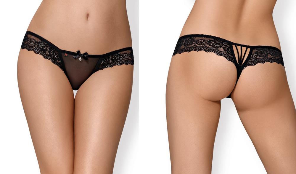 """854"" Superbe String Noir Dentelle & Bijou Ajouré Au Dos Sexy - Obsessive"