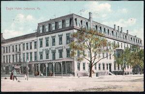 LEBANON-PA-Eagle-Hotel-Antique-Town-View-Postcard-Early-Old-Vtg-Pennsylvania-PC