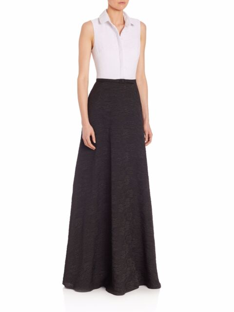 Badgley Mischka Black Belted Colorblock Shirt Evening Ball Gown ...