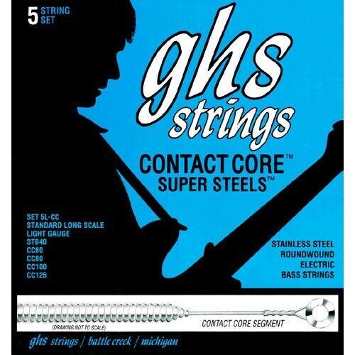 GHS Contact Core Super Steels 5L-CC Bass String Set 5-String Light 040-125Neu