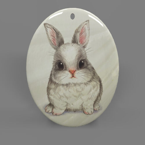 Fashion Jewelry Pendant Necklace Rabbit Mother of Pearl Shell Oval R1706 1193