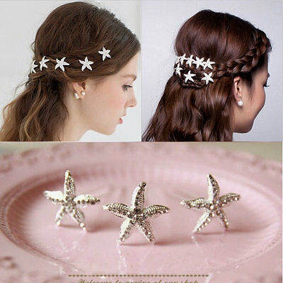1 Piece Lady Crystal Starfish Lovely Hair Comb Clip Beauty Barrette Accessories