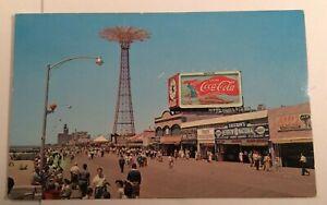 Vtg-Postcard-Boardwalk-at-Coney-Island-Parachute-Coney-Island-N-Y-Unposted-PC