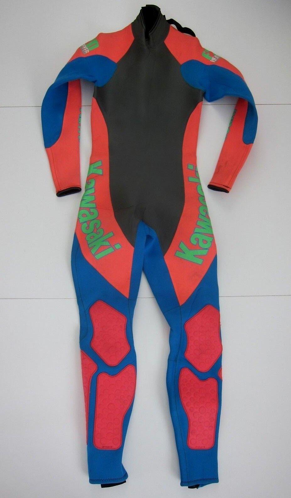 Vintage kawasaki Made In USA F20 Heat Seeker Jet Pilot Retro Wet Suit Men's S