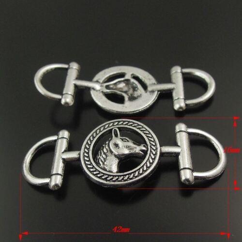 16pcs Vintage Style Silver Tone Horse Head Connector Pendant 42*16*2mm