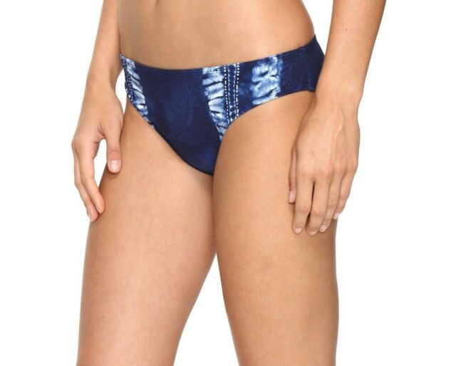 NEW La Blanca Women's Moody Blues Hipster Bikini Bottom Tie Dye Detail MSRP $49