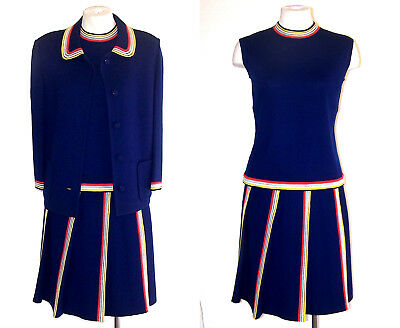 Konstruktiv St Andrews 60er Jahre 70er 3 Tlg Anzug Vtg Dunkel Königsblau Wolle Gestrickt Mit NüTzlich FüR äTherisches Medulla