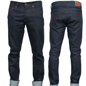 Men-039-s-12oz-Dry-Raw-Japanese-Selvedge-Denim-Jeans-Slim-Fit-Stretch-Indigo-Blue