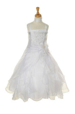 Attractive Falling Rhinestone Ruffle Organza Sequined Satin Flower Girl Dress