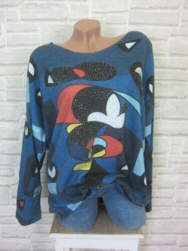 Italy Tricot Fin Shirt Pull Pull Lurex arêtes strass 42 44 46 Bleu e689
