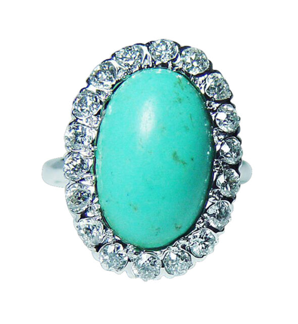 Vintage Old European Diamond Ring 18K White Gold Persian Turquoise 1.4ct