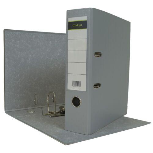 9 x Ordner A4 8cm PP Kunststoff Grau Aktenordner Briefordner Breit Büro Midori-E