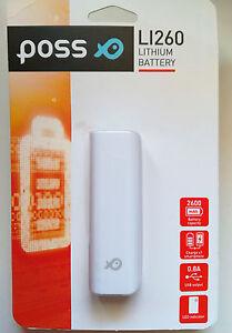 Batería externa universal POSS 2600mAh + cable cargador USB litio