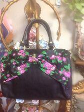 BETSEY JOHNSON Bow Black & Purple Rose Tote Handbag Purse