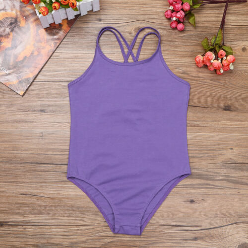 Girls Gymnastics Ballet Dance Leotards Stretchy Sleeveless Bodysuit Ages 3-14