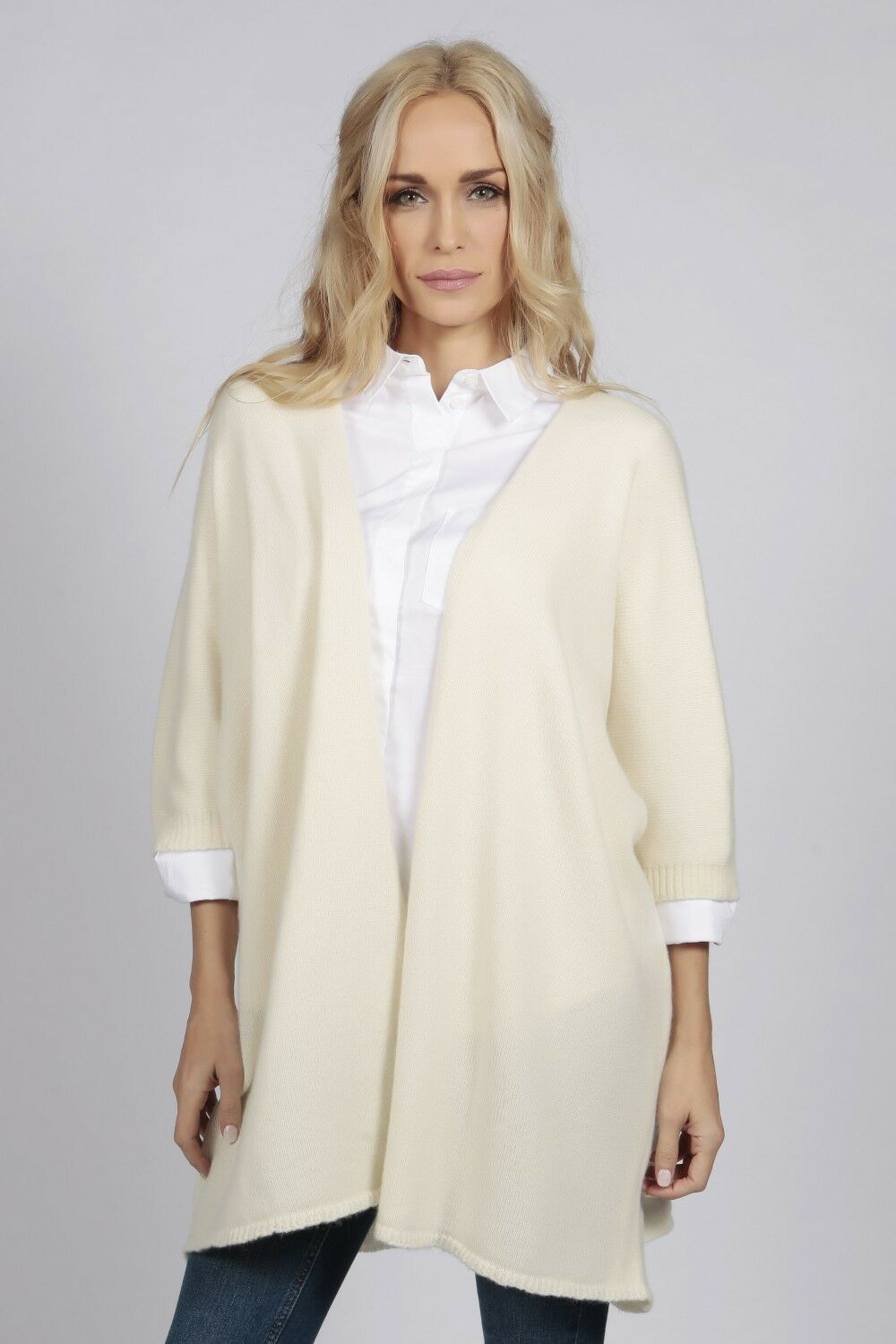 Cream Weiß Cashmere Duster Cardigan sweater daMänner MADE IN ITALY