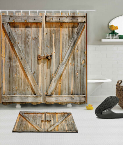 Rustic Wood Barn Door Waterproof Fabric Shower Curtain Set Bathroom Accessories