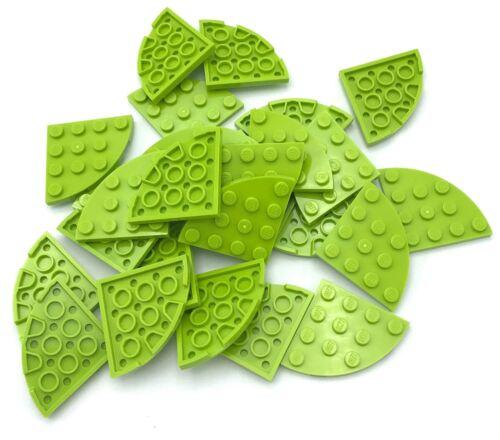 Lego 25 New Lime Plates Round Corner 4 x 4 Dot Pieces