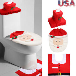 Awesome Details About 3Pcs Fancy Santa Toilet Seat Cover Rug Bathroom Set Christmas Xmas Decoration Customarchery Wood Chair Design Ideas Customarcherynet