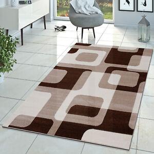 Wohnzimmer Teppich Modern Braun Beige Creme Retro Muster Kurzflor Ebay