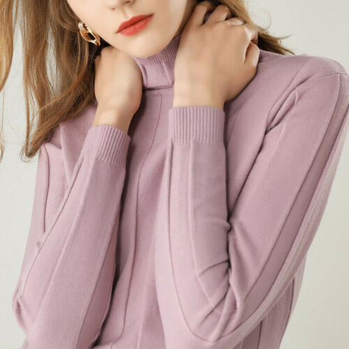 Woman Turtleneck 100/% Cashmere Sweater Knitted Pullover High Quality Warm Winter