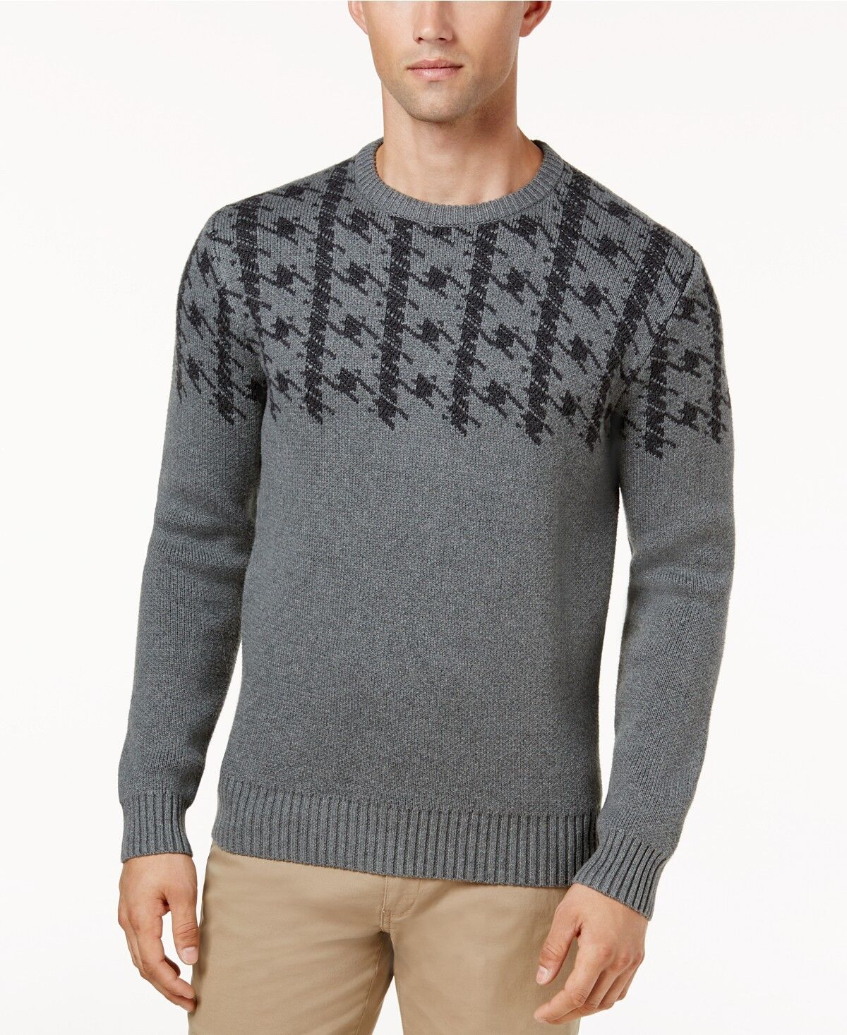 Ben Sherman Jacquard Uomo's Dogtooth Jacquard Sherman Sweater, Size XL, Color Gris, ( 109) NEW dfff19