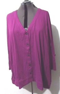 Ulla-Popken-Blouse-Top-Shirt-Women-039-s-Purple-Long-Sleeve-sz-28w-30w-Plus-NWT-NEW