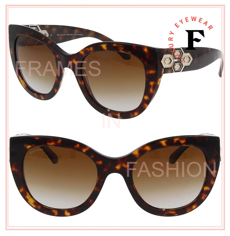 BVLGARI SERPENTI BV8214B Brown Polarized Diamante Jewel Crystal Sunglasses 8214