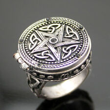 Vintage Silver Tribal Celtic Trinity Knot Star Carved Locket Band Finger Ring W7