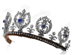 13-16cts-Rosa-Corte-Diamante-Zafiro-Azul-925-Plata-de-Ley-Boda-Tiara-Corona