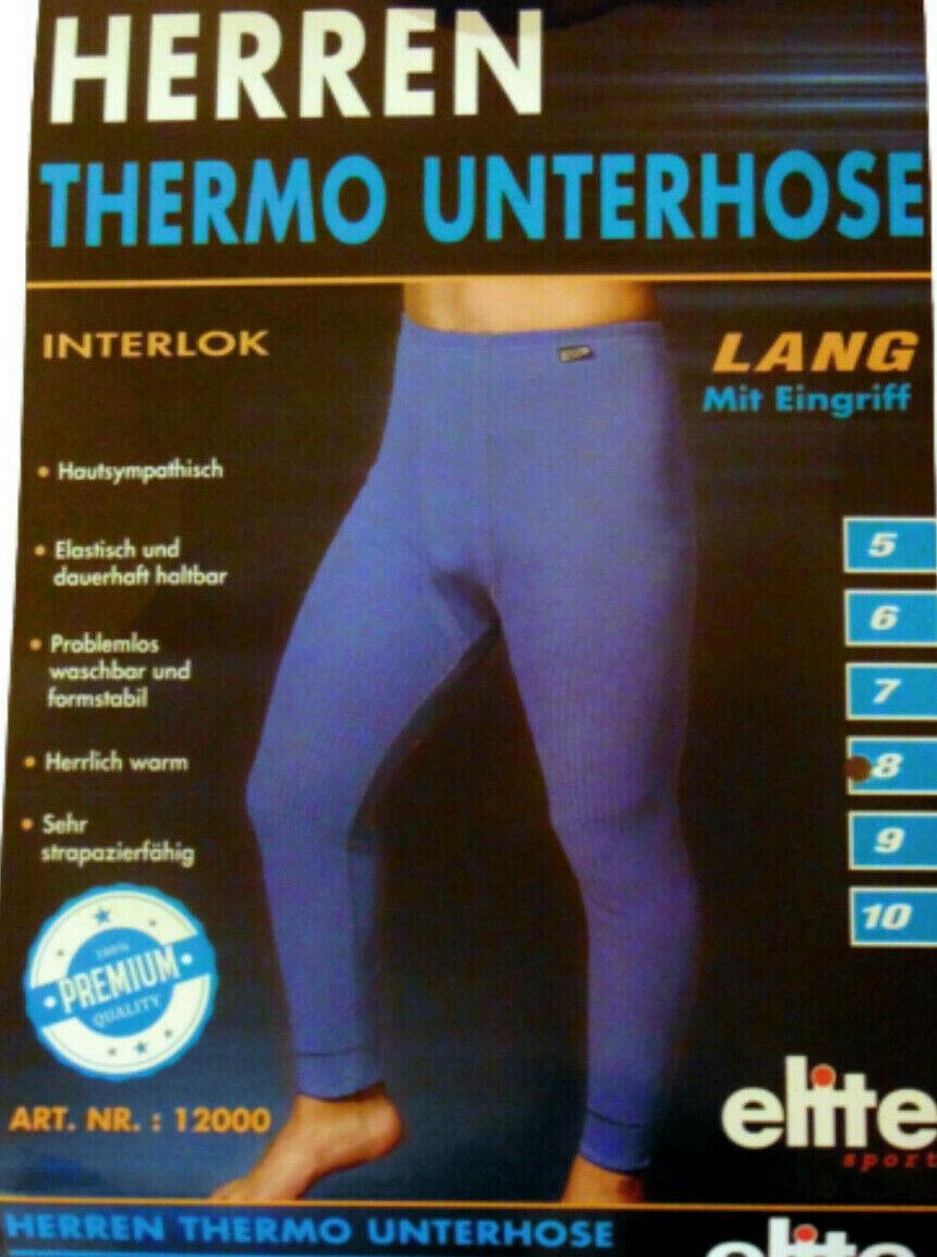 Herren Thermo Unterhose Unterwäsche Ski lange Unterhose Leggins Neu Blau