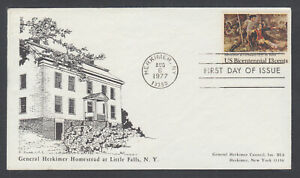 US-Pl-1722-F-FDC-1977-13c-US-Bicentennial-Gen-Herkimer-Council-FIRST-CACHET