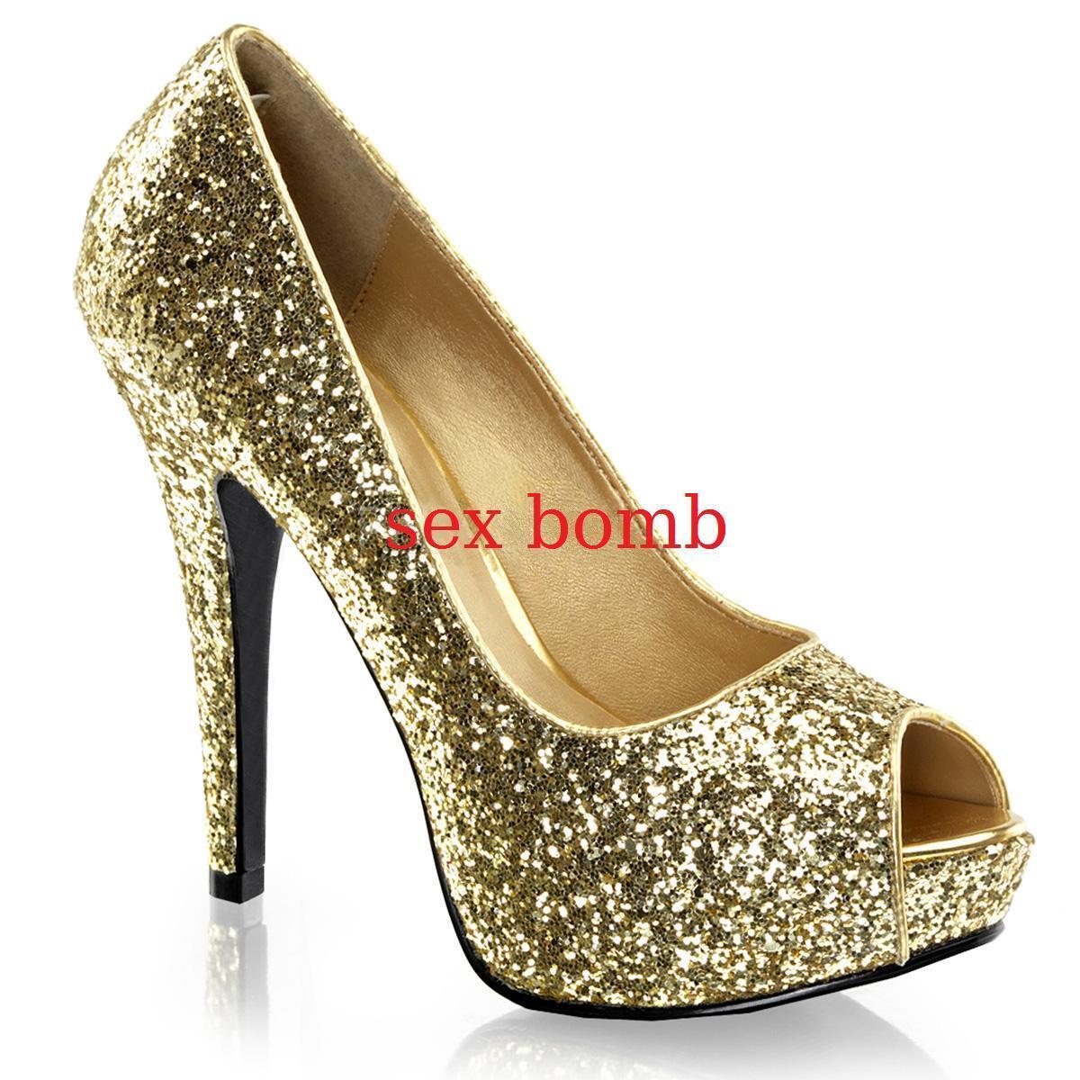 acquisto limitato SEXY scarpe decolte oro spuntate GLITTER tacco 13 dal 35 35 35 al 41 fashion GLAMOUR   consegna gratuita