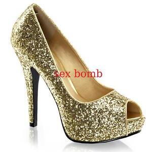 detailed look 0b551 168b3 Dettagli su SEXY scarpe decolte ORO spuntate GLITTER tacco 13 dal 35 al 41  fashion GLAMOUR!