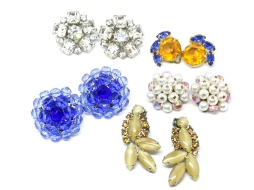 5 Piece Vintage Earring Lot Blue Pink Marigold Cle