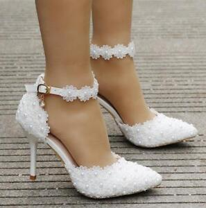 8c2b5d45e684 Details about Hot Sandal Women Lace Pearl Wedding Prom High Heels Pointy  Toe Ankle Strap Shoes