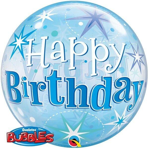 Birthday Blue Sparkle Starburst Qualatex 22 Inch Bubble Balloon