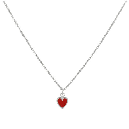 Sterling Silver /& Red Enamel Heart Necklace 14-22 Inches