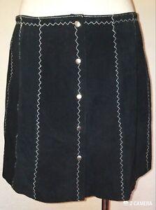 bianche Minigonna vintage L in taglia nera pelle con righe scamosciata gR1Fgw