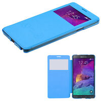 For Samsung Galaxy Note 4 Leather Flip Wallet View Window Hard Case Cover Blue