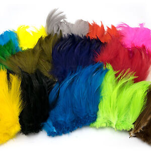 SALTWATER-NECK-HACKLE-Hareline-5-6-034-Strung-Fly-Tying-Feathers-15-Dyed-Colors