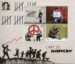 Madagascar-2018-neuf-sans-charniere-Banksy-4-V-M-S-Graffiti-URBAN-STREET-ART-STAMPS