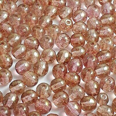 30pcs Yellow /& Black Diamond Czech Glass Round Beads 6mm Jewellery Making GB319