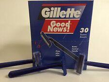 GILLETTE GOOD NEWS 30 DISPOSABLE RAZORS WITH 2 BLADES / 30 RASTRILLOS AFEITAR