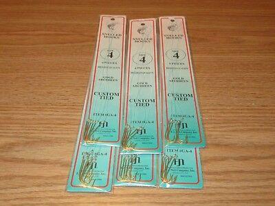 10 pks Dolphin Brand 60 total hooks Size 8 Snelled Gold Aberdeen Hooks