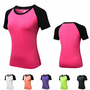 Women-039-s-Athletic-Shirt-Dri-fit-Yoga-Gym-Cycling-Sportswear-Slim-fit-Tops-Active