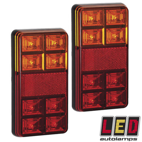Pair 12v Rectangle Rear LED Trailer Lights *3 YEAR WNTY* Stop//Tail//Indicator