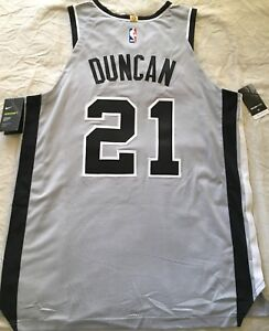 big sale fc310 95bde Details about Tim Duncan San Antonio Spurs authentic Nike game model  2014-2016 gray jersey NWT