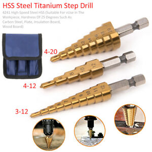 3pcs-HSS-Steel-Step-Cone-Drill-Bit-Set-Hex-Shank-Hole-Cutter-Titanium-Bits-Bag