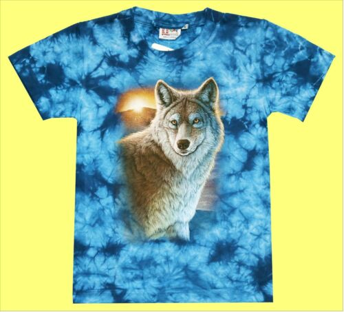 Bambini T-Shirt Lupo Blu Batik Tg 98*104*110*116*122*128*134*140*146*152 Lupi